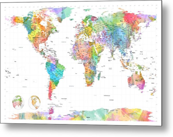 Watercolor Political Map Of The World Metal Print