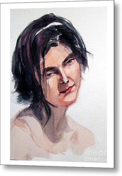 Watercolor Portrait Of A Young Pensive Woman With Headband Metal Print