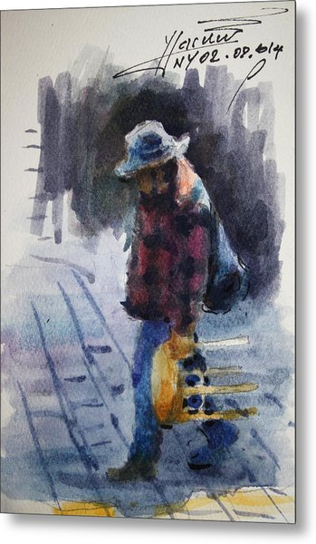 Watercolor Sketch Metal Print
