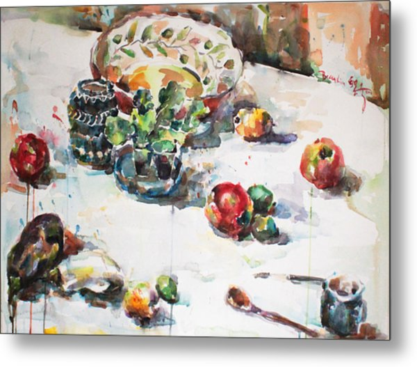 Watercolor Still Life In April Metal Print