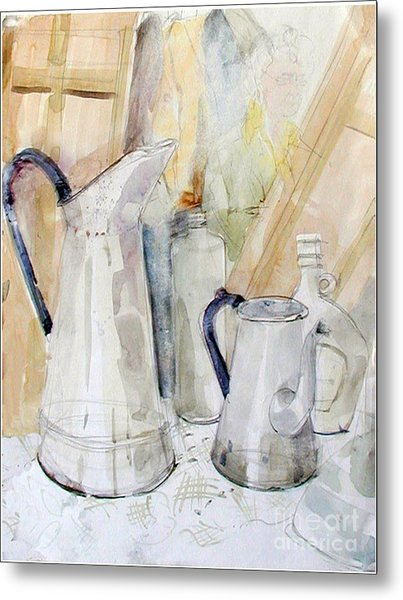 Watercolor Still Life Of White Cans Metal Print