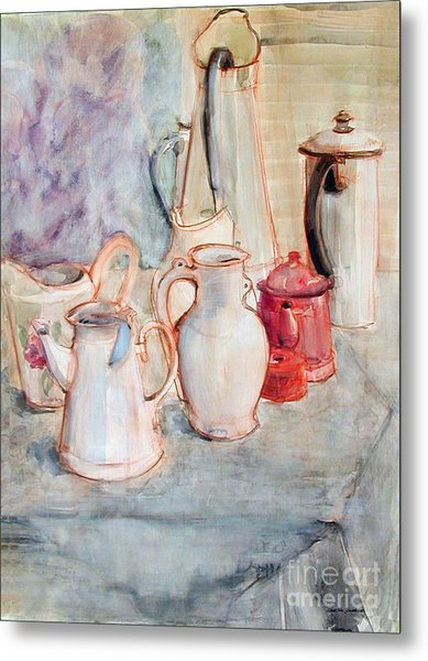 Watercolor Still Life With Red Can Metal Print