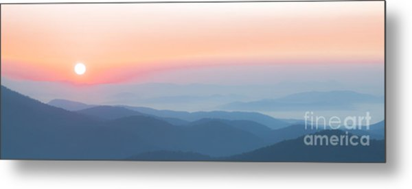 Watercolor Sunrise In The Blue Ridge Mountains Metal Print