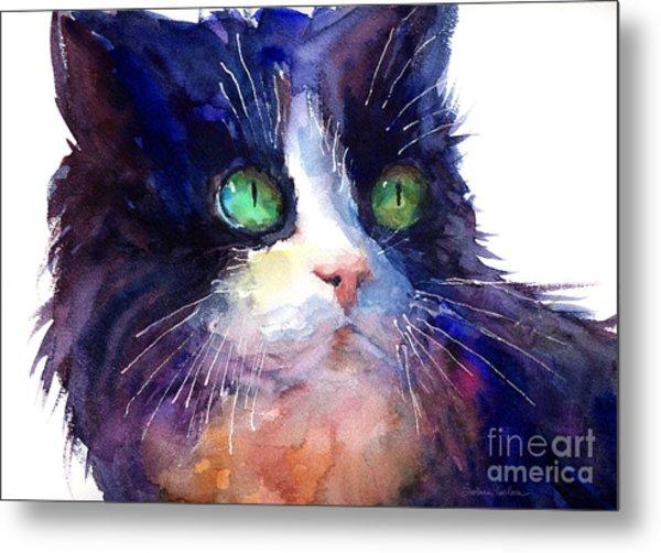 Watercolor Tuxedo Tubby Cat Metal Print