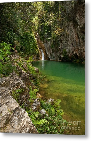 Waterfall And Pool Paradise - Cuba Metal Print by OUAP Photography