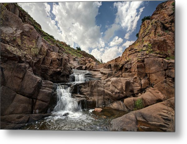 Waterfall At Forty Foot Hole In The Wichita Mountains Metal Print