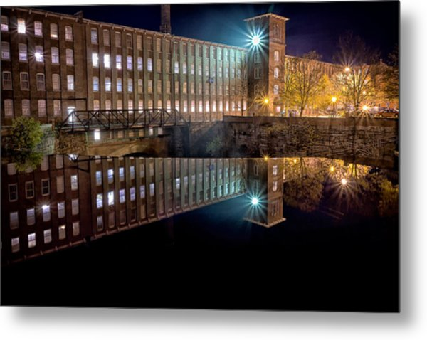 Metal Print featuring the photograph Waterfall At The Cocheco Mill At Night by Jeff Sinon