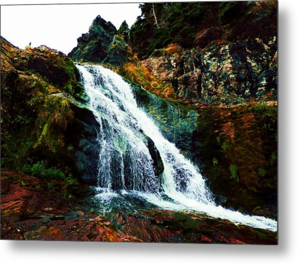 Waterfall By Stiles Cove Path Metal Print