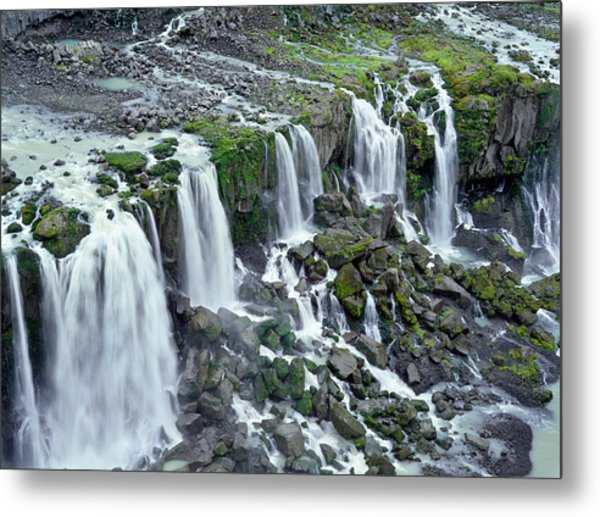 Waterfall In Iceland Metal Print by Birgir Freyr Birgisson