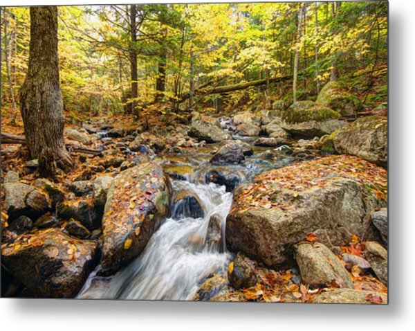 Waterfall In The Fall Nh Metal Print