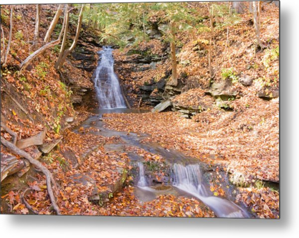 Waterfall In The Fall Metal Print