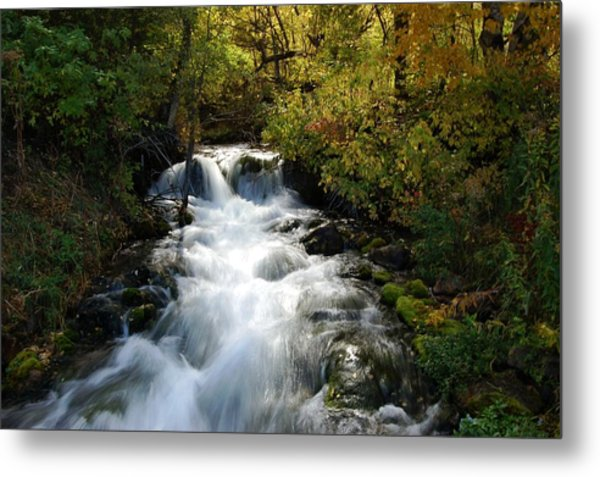 Waterfall On The Little Spearfish Iv Metal Print
