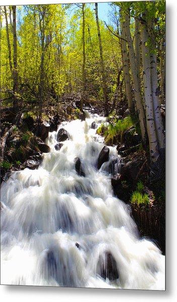 Waterfall Through The Aspens Metal Print