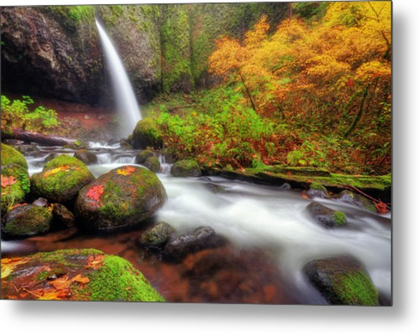 Waterfall With Autumn Colors Metal Print