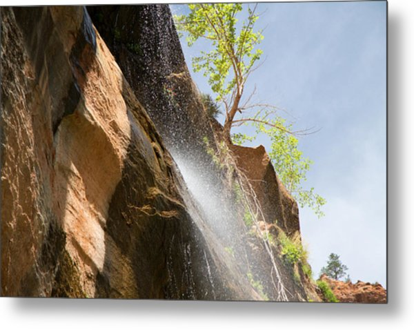 Waterfall Zion National Park Metal Print