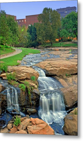 Waterfalls And Downtown Greenville Sc Skyline At Dawn Metal Print