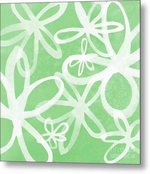 Waterflowers- Green And White Metal Print