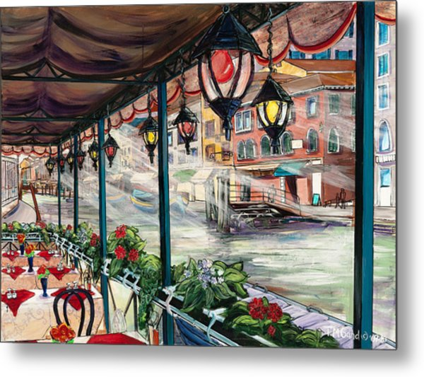 Metal Print featuring the painting Waterfront Cafe by TM Gand