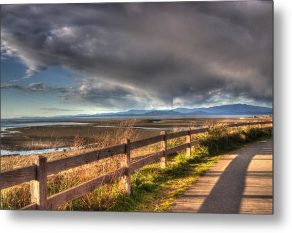 Waterfront Walkway Metal Print