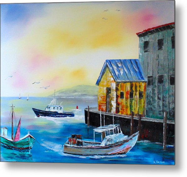 Metal Print featuring the painting Waterman's Harbor by Kevin  Brown