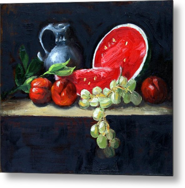Watermelon And Peaches Metal Print
