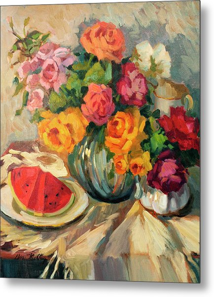 Watermelon And Roses Metal Print