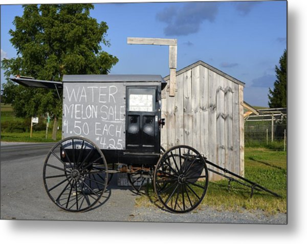 Watermelon Wagon Metal Print