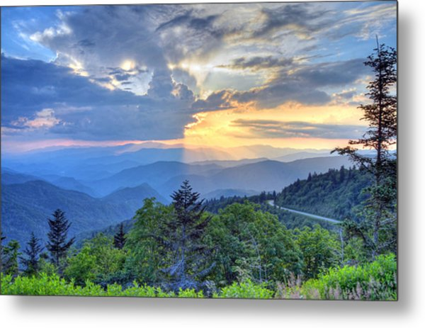 Waterrock Knob Sunset Metal Print by Mary Anne Baker