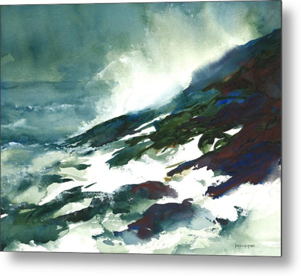 Wave And Rocks - Storm On The North Shore Metal Print