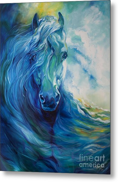 Wave Runner Blue Ghost Equine Metal Print