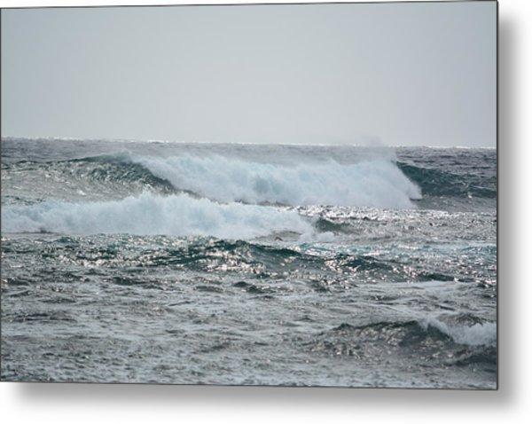 Waves At Koloa Metal Print