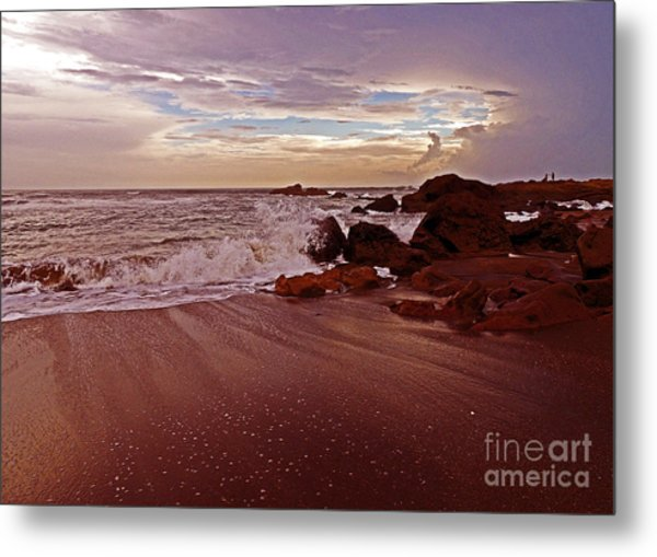 Waves Break Hands Shake Metal Print