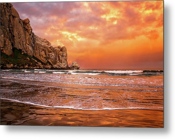 Waves Breaking On Beach At Sunrise Metal Print by Alice Cahill