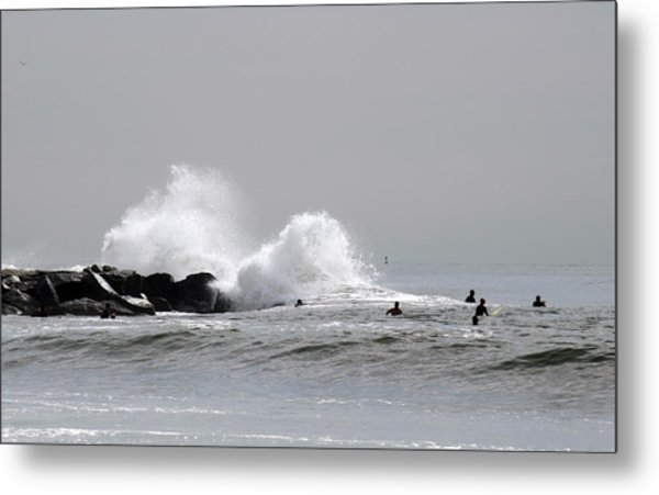 Waves Crash Against Beach 91st Jetty Metal Print