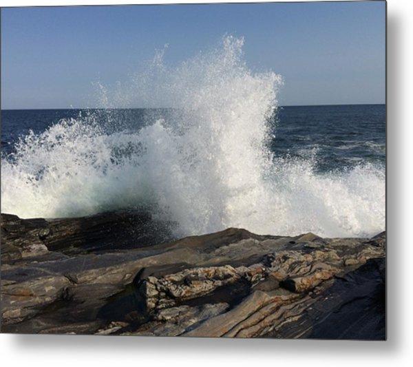 Waves Crashing On Rocky Maine Coast Metal Print