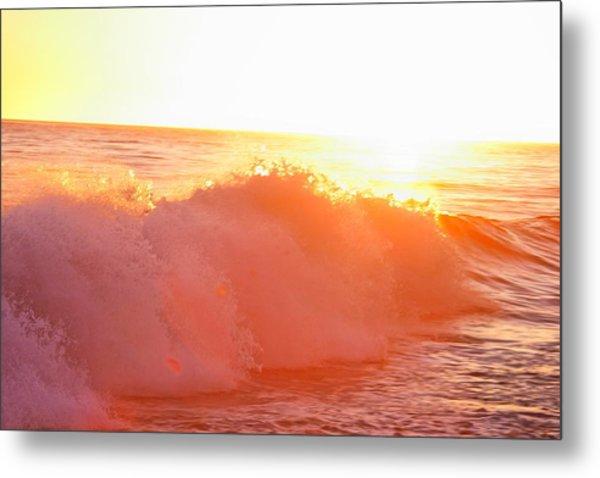Waves In Sunset Metal Print