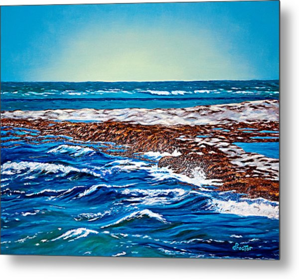 Metal Print featuring the painting Waves Of Blue by Donna Proctor