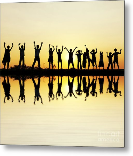 Waving Children Metal Print