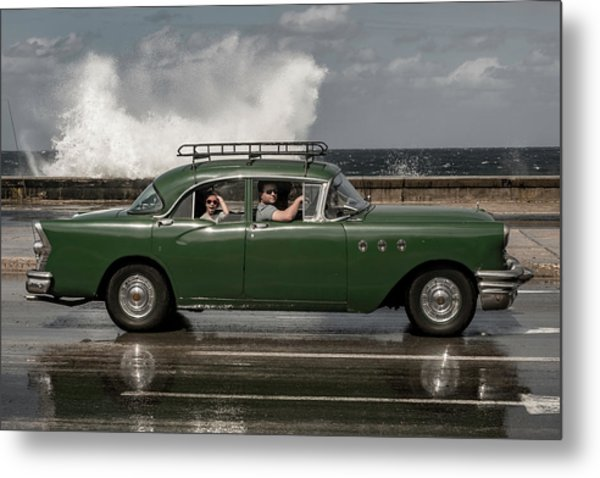 Waving Malecon Metal Print by Andreas Bauer