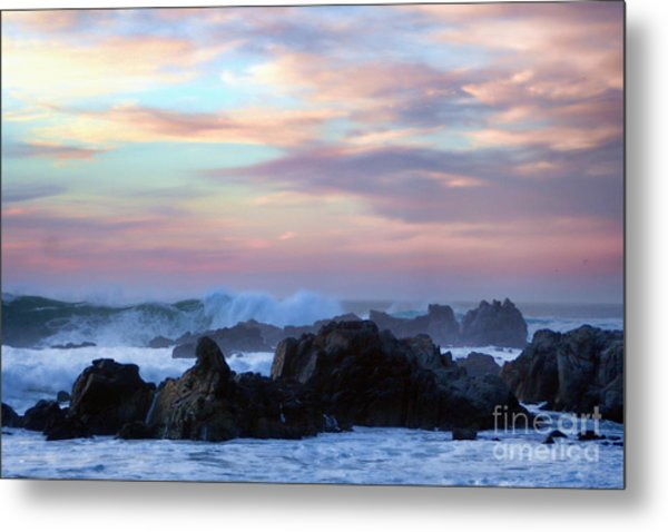Wavy Sunset Metal Print