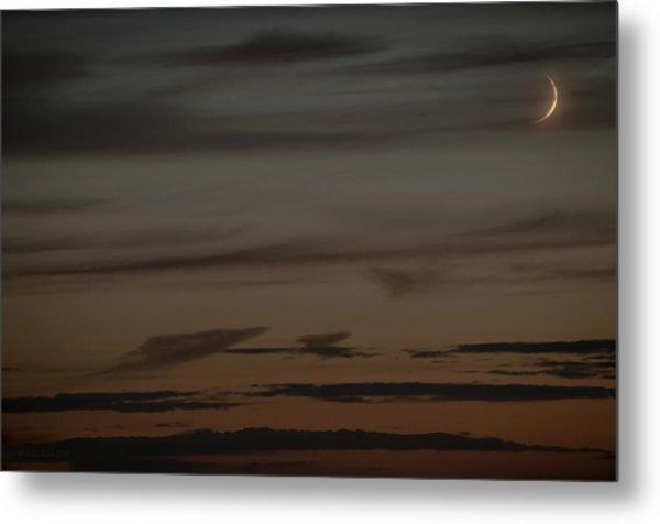 Waxing Crescent Moon Over Purple And Orange Evening Sky Metal Print