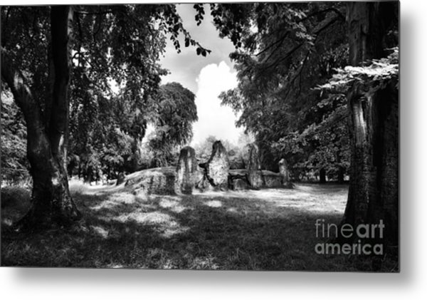 Wayland's Smithy Monochrome Metal Print by Tim Gainey