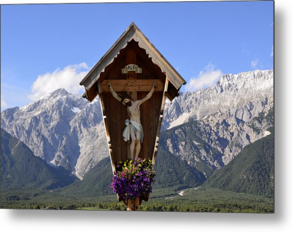 Wayside Cross In Alps Metal Print
