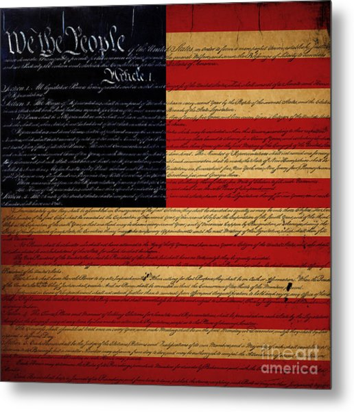 We The People - The Us Constitution With Flag - Square Metal Print
