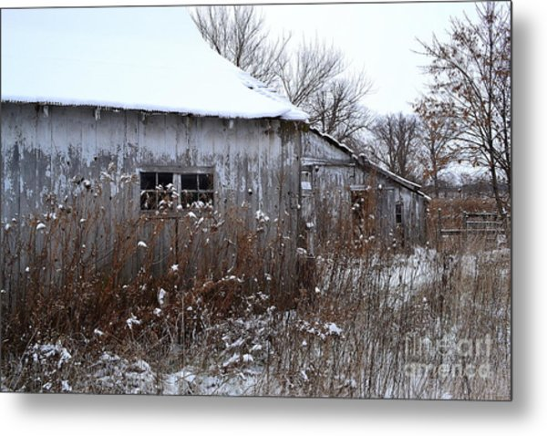 Weathered Barns In Winter Metal Print