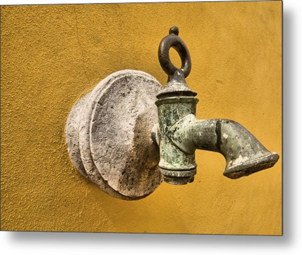 Weathered Brass Water Spigot Metal Print