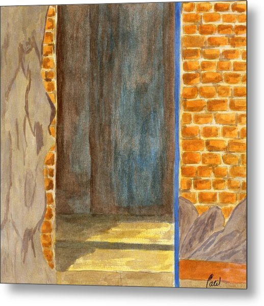 Weathered Wall With Doorway Metal Print by Bav Patel