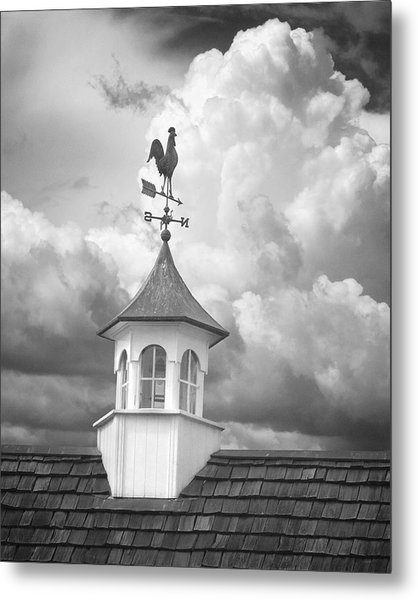 Weathervane And Clouds Metal Print