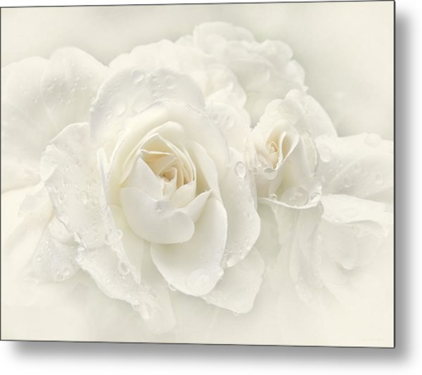 Wedding Day White Roses Metal Print