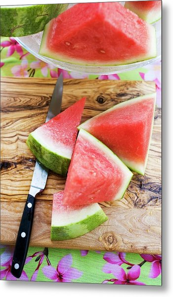 Wedges Of Watermelon And Knife On A Wooden Board Metal Print